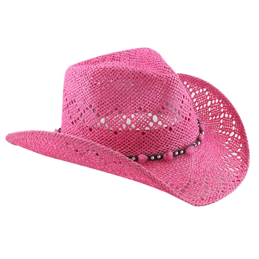 Pink Straw Cowboy Hat for Women with Beaded Trim and Shapeable Brim