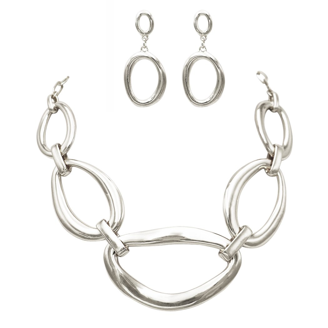 Rosemarie Collections Women's Contemporary Geometric Link Bib Necklace and Earrings Set (Silver)