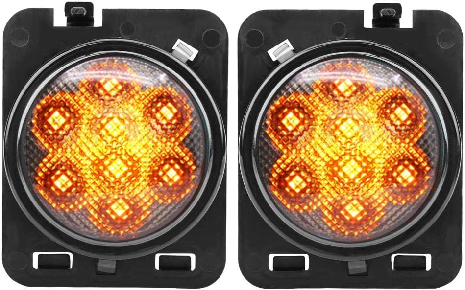 KIMISS Pair of LED Front Turn Signal Side Marker Light Fit for 07-17 9-32V