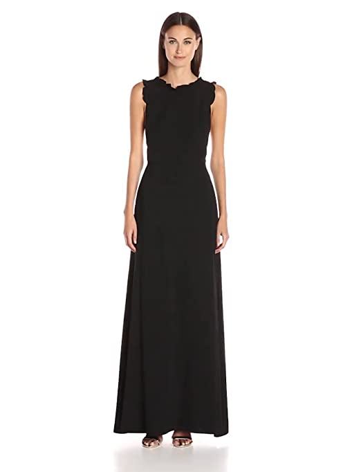 2a86d3cc18f Amazon.com  Jill Jill Stuart Women s Ruffle Trim Gown with Criss Cross  Back  Clothing