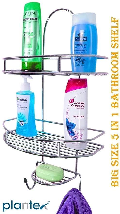 Plantex 5in1 Stainless Steel Big Size Multipurpose Bathroom Shelf/Kitchen Shelf/Holder/Bathroom Accessories for Home
