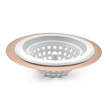 COOK with COLOR Flexible Silicone Kitchen Sink Strainer Rose Gold Copper Large Wide 4.5' Diameter Rim/White Silicone Durable Drain Basket Traps Food Debris and Prevents Clogs