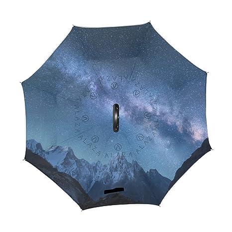 38ecea546994e Amazon.com : Wamika Galaxy Landscape Reverse Umbrella Double Layer ...