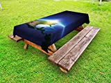 Ambesonne Earth Outdoor Tablecloth, Earth Sunrise Over Cloudless North America Atmosphere Space Solar System, Decorative Washable Picnic Table Cloth, 58 X 120 inches, Blue Dark Blue Green