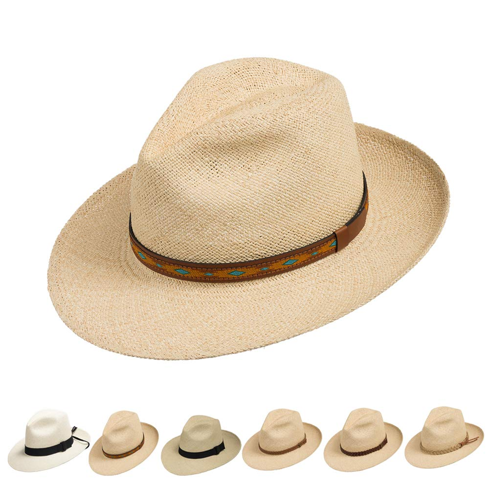 Ultrafino Fedora Packable Foldable Panama Straw Hat Classic Turquoise and Leather Patterned Hatband 7 3/8