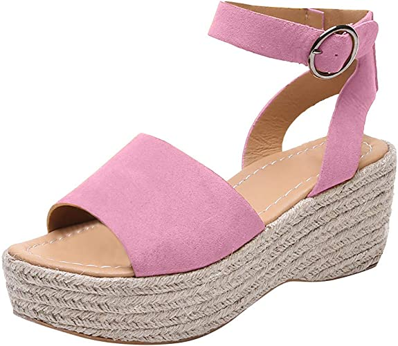 Lurryly Casual Womens Rubber Sole Flatform Wedge Buckle Ankle Strap Open Toe Sandals