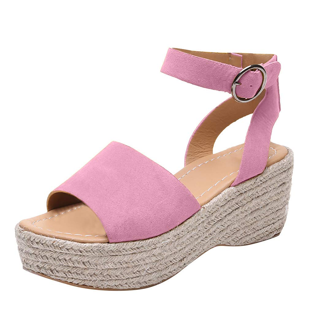 Womens Espadrilles Wedge Sandals - Peep Toe Straw Ankle Buckle Large Size Solid Color Elegant Roman Sandals (Pink, 5 M US)