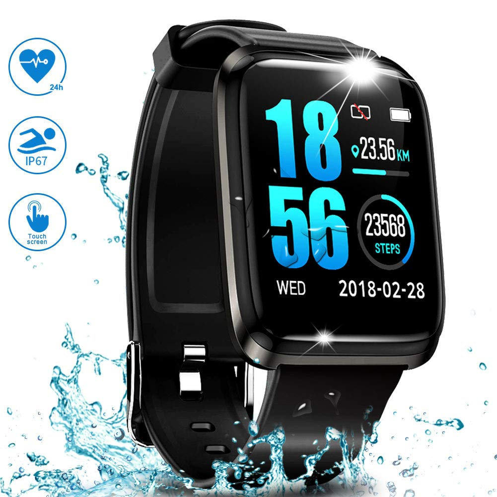 GPS Running Fitness Tracker,Smart Watch IP68 Waterproof with Color Screen,Sleep Monitor,Bluetooth Pedometer,Heart Rate,Blood Pressure Monitor Smart Sports Watches for Android iOS Men Women Kids by J-SPYFIT