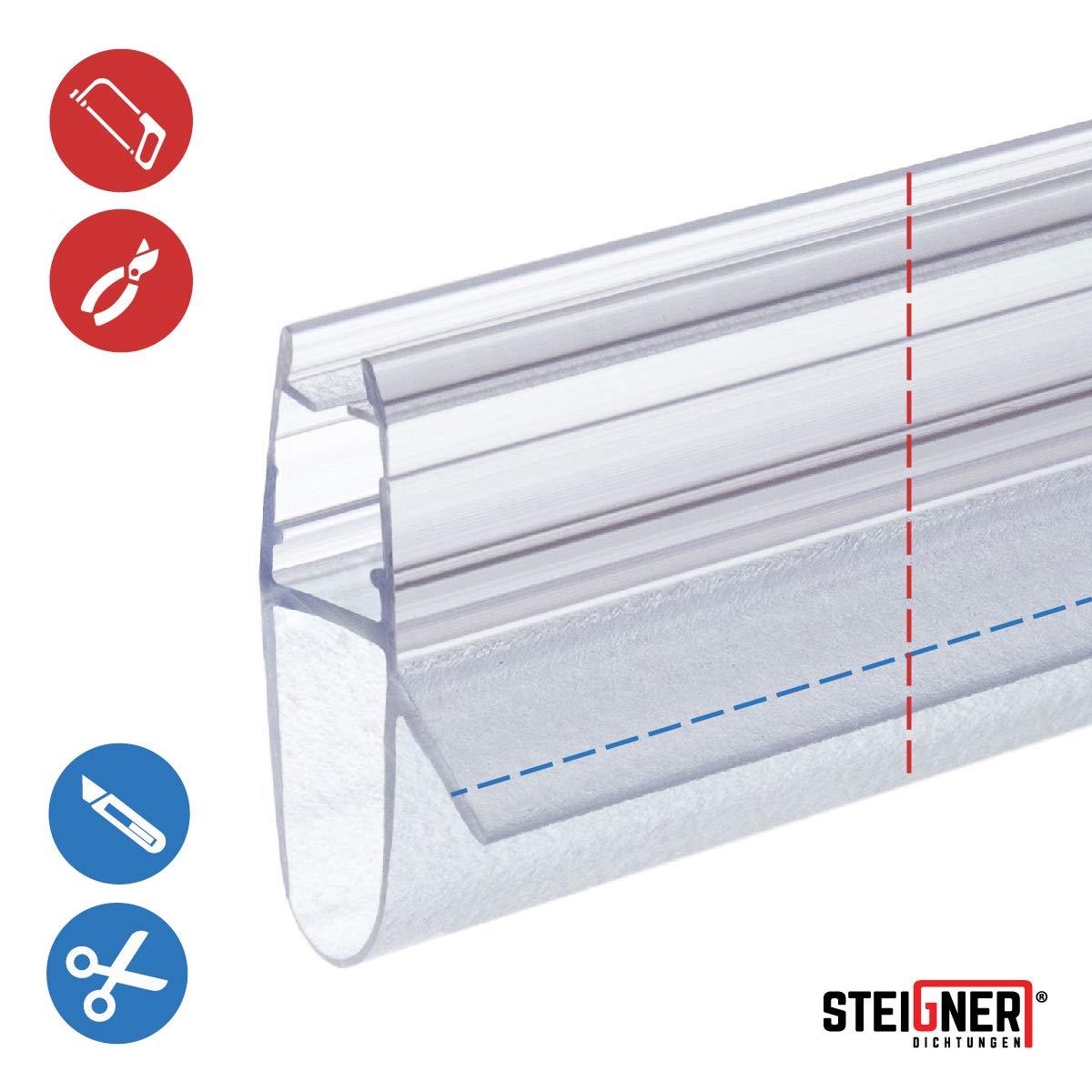 170cm Glasst/ärke 5// 6// 7// 8 mm STEIGNER Duschdichtung Gerade PVC Ersatzdichtung f/ür Dusche UK17