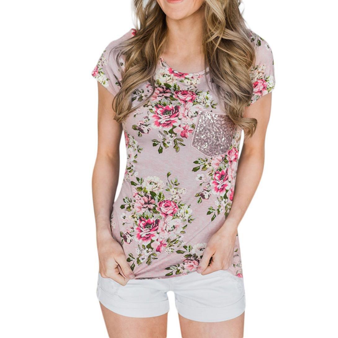 KIMODO Damen Bekleidung T Shirt Blusen Top Damen Kurzarm Floral Bedruckte Mode  Freizeithemd  Amazon.de  Bekleidung 5ee7abf03d