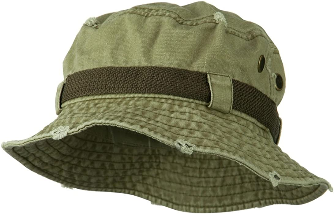 d8904798f Big Size Frayed Cotton Washed Bucket Hat
