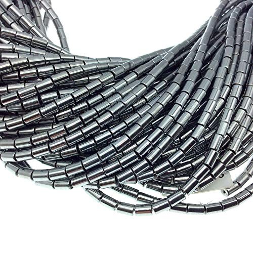 3mm x 5mm Smooth Natural Metallic Silver Coated Hematite Tube Shape Beads - Sold by 16