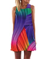 Beach Dress Women Casual Chiffon O-Neck Colours Personality Print Sleeveless Party Club Tank Mini