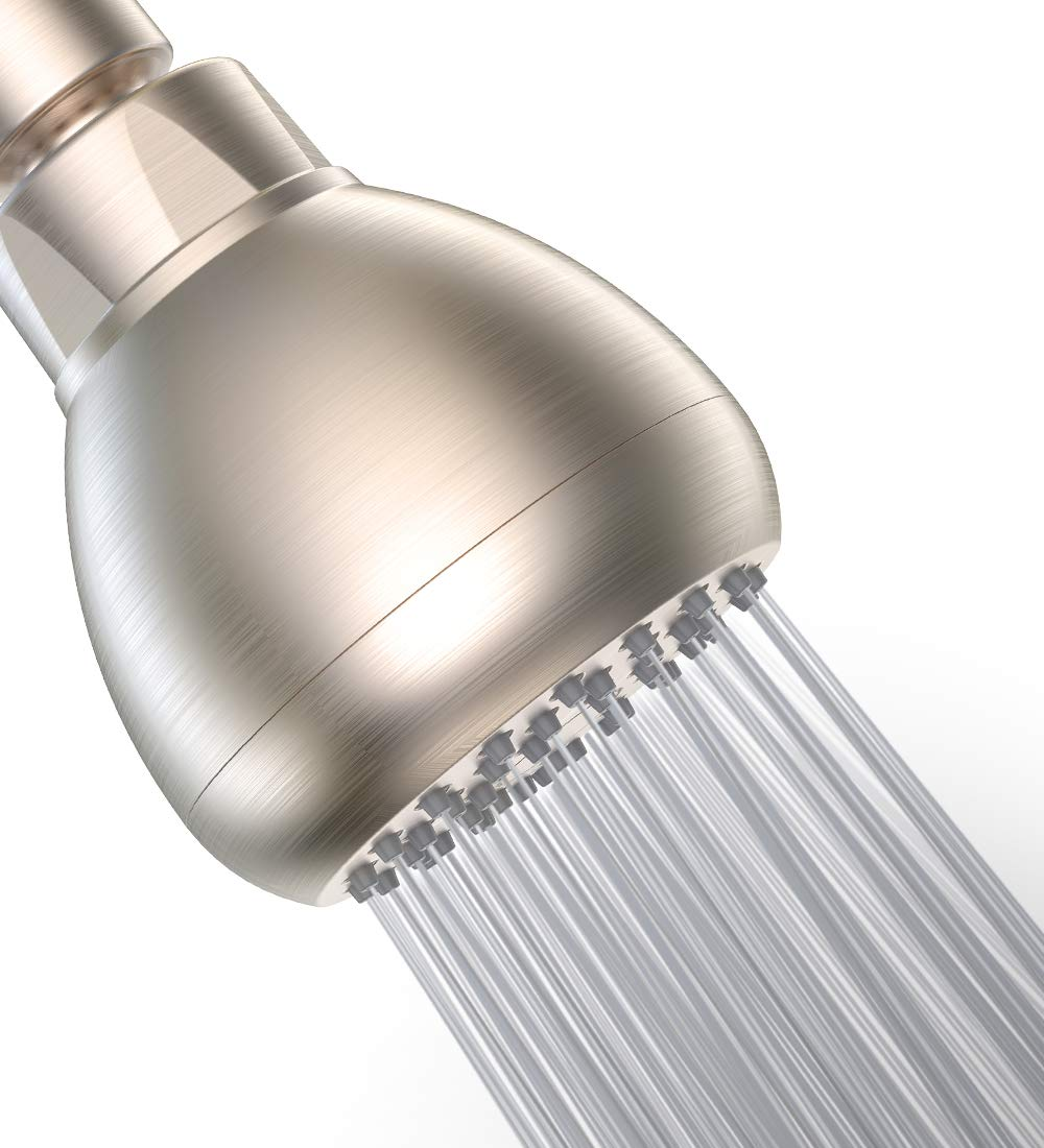 High Pressure Shower Head - 3 Inch Anti-clog Anti-leak Showerhead - Adjustable Metal Swivel Ball Joint with Filter - Ultimate Shower Experience Even at Low Water Flow and Pressure (Brushed Nickel)