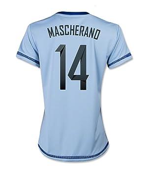 Adidas MASCHERANO #14 Argentina Camiseta 1ra Futbol 2015 (MUJER) - Nombre Auténtico y