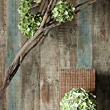 """HaokHome 8032 Vintage Woods Panel Wallpaper Rolls Blue/Brown Trees Vinyl Kitchen Wall Paper Murals Realistic Home Decoration 20.8"""" x 393.7"""""""