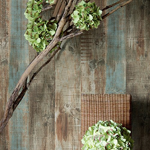HaokHome 8032 Vintage Woods Panel Wallpaper Rolls Blue/Br...