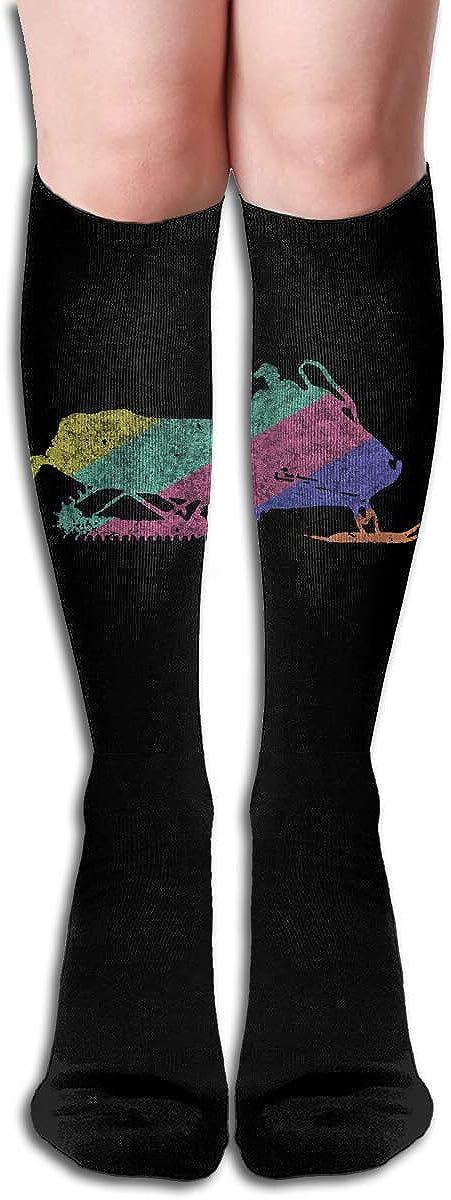 Retro Snowmobile Show Womens Knee High Socks Winter Warm Boot Socks Tube Stockings