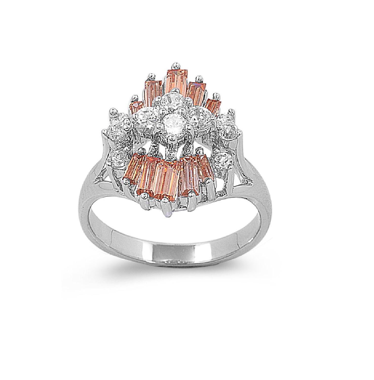 Cluster Flower Designer Cubic Zirconia Ring Sterling Silver 925