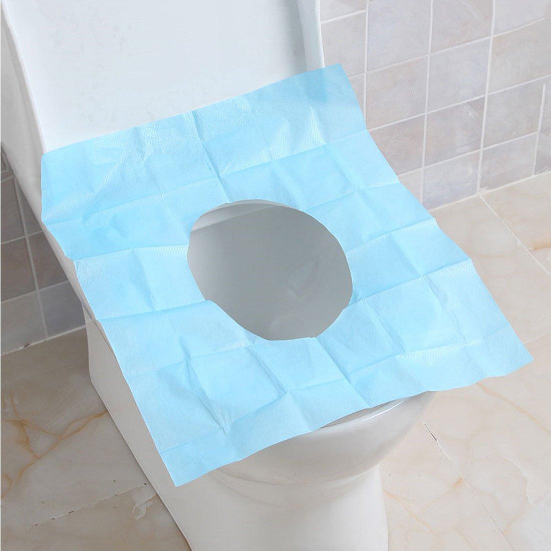 Levoberg 10 piezas couvre-siè ges WC en papel desechable hermé tica, higié nica para viaje, papel, azul, 10 Piè ces higiénica para viaje 10 Pièces