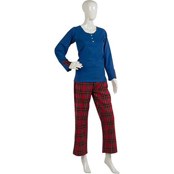 Ladies Combed Cotton Tartan Pyjamas Long Sleeved Button Detail Top    Bottoms S - XL (Blue or Red)  Amazon.co.uk  Clothing 8004589e7