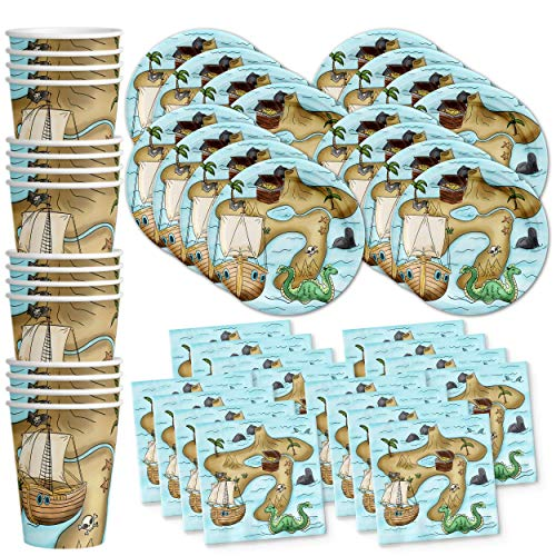 Pirate Treasure Map Birthday Party Supplies Set Plates Napkins Cups Tableware Kit for 16 -