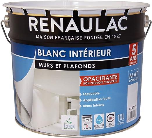 Renaulac Peinture Intérieur Murs Plafonds Bicouche Acrylique Blanc Mat 10l 100m