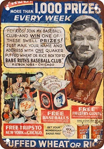 weewen 1934 Babe Ruth Baseball Club Vintage Look Reproduction Wall Decor Sign Metal Sign for Outdoor Yard Safety Sign Aluminum Signs