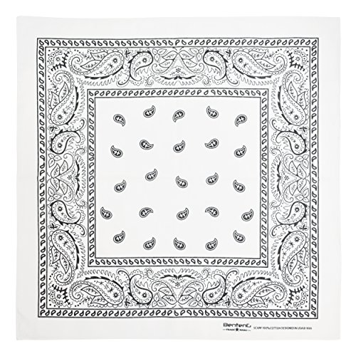 Bandana, 12 Pack 100% Cotton Bandanas for Women Men with Paisley, Flags & More (White) ()