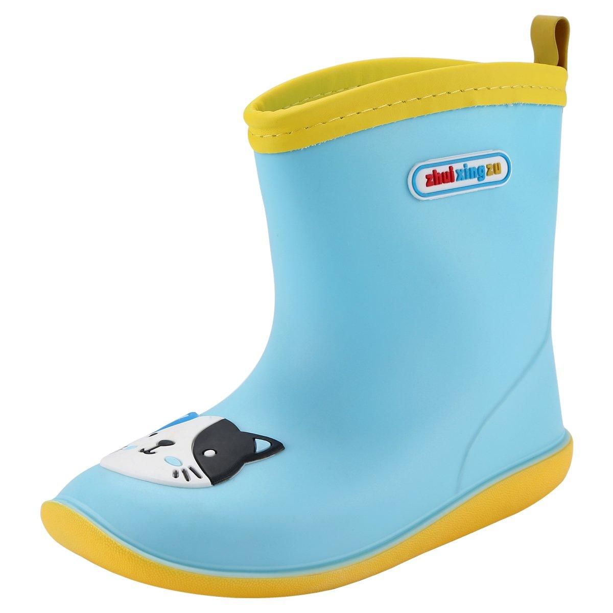 Qimaoo Enfants Bottes de Pluie Chaussures d'eau Bottes en Caoutchouc Ours Grenouille Chaton Léger PVC pour Filles Garçons