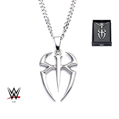 wwe roman reigns logo cut out pendant with chain necklace amazon com