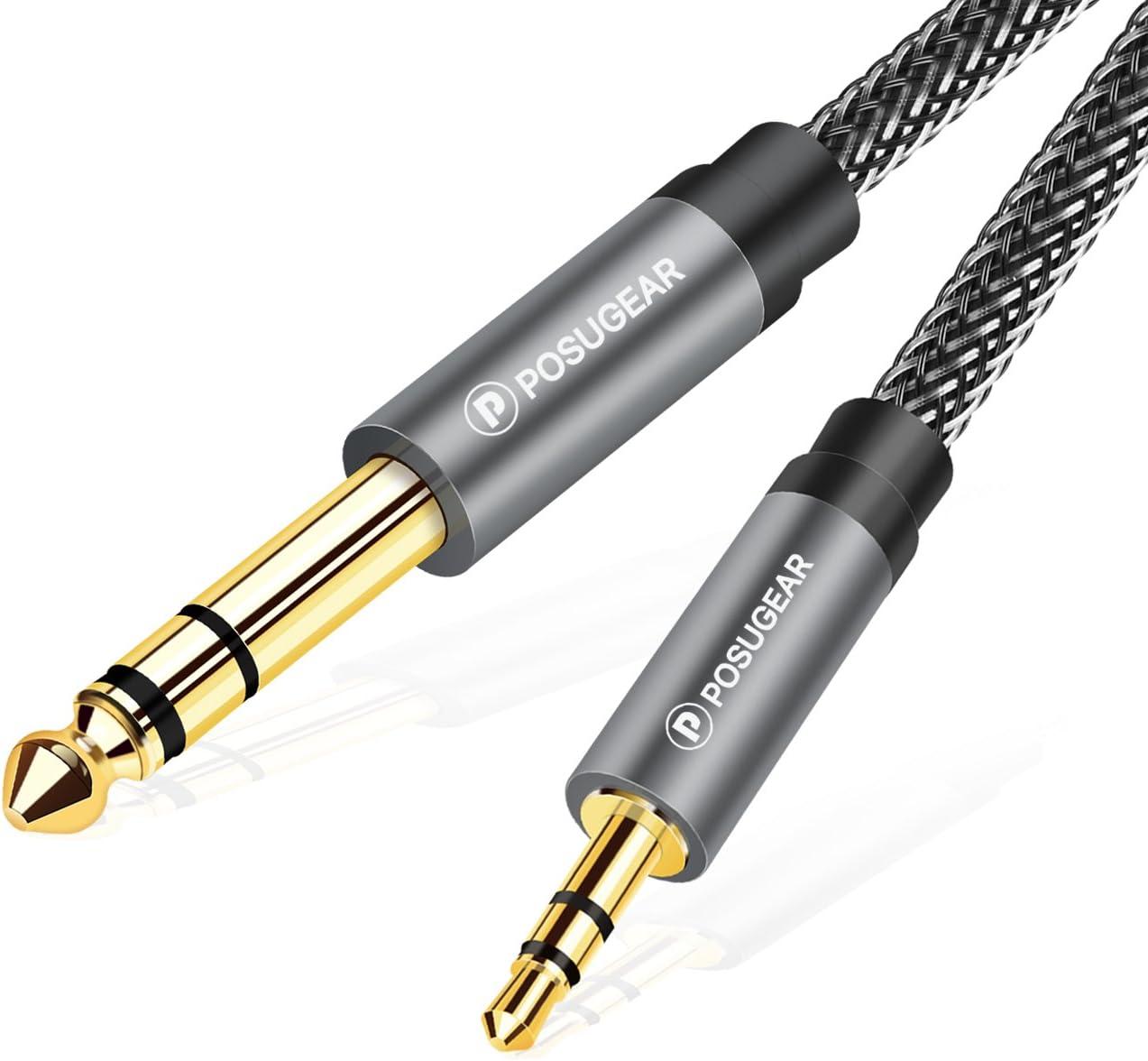 Cable de 6.35mm a 3.5mm, POSUGEAR Nylon Trenzado 3.5mm a 6.3mm Cable Audio Estéreo HiFi Macho a Macho para Reproductores de MP3, PCs, Amplificadores, Mesas de Mezclas, Ordenadores- 2M Ordenadores- 2M