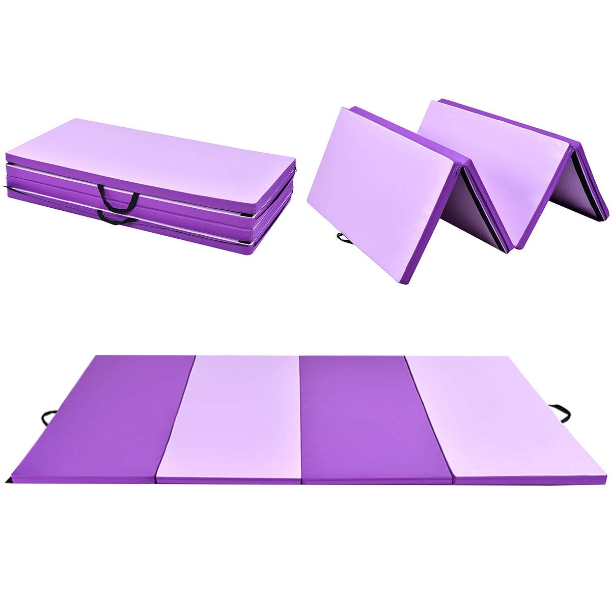 Giantex 4'x8'x2 Gymnastics Mat Thick Folding Panel Gym Fitness Exercise Mat Purple/Pink