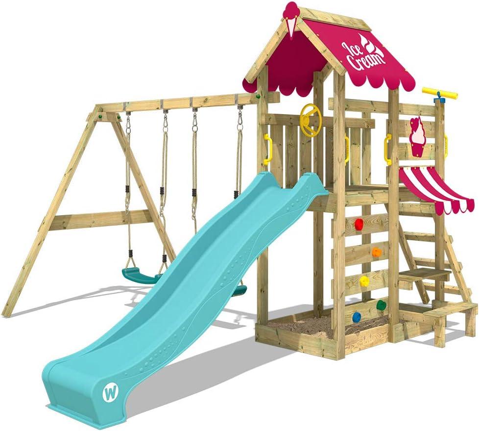 WICKEY Parque infantil de madera VanillaFlyer con columpio y tobogán turquesa, Torre de escalada da exterior con arenero y escalera para niños