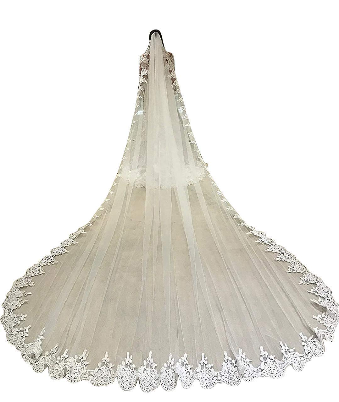 Fenghuavip Cathedral Wedding Veils for Bride 1 Tier Full Lace Edge with Comb by Fenghuavip