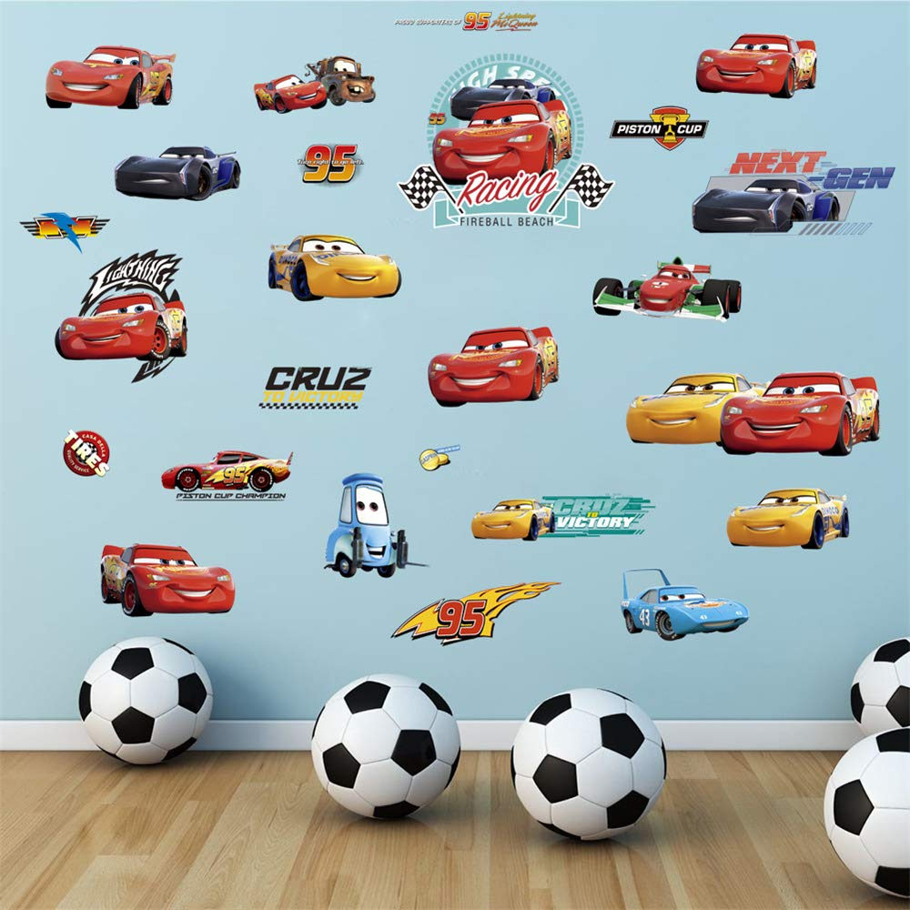 ufengke Cars Racing Story Wall Stickers DIY Removable Vinyl Peel and Stick Wall Decals for Nursery Boy's Room Bedroom