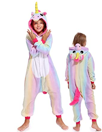 Kids Onesies Unicorn Pajamas Halloween Costume One Piece Cosplay for Girls  Boys a25189bcd