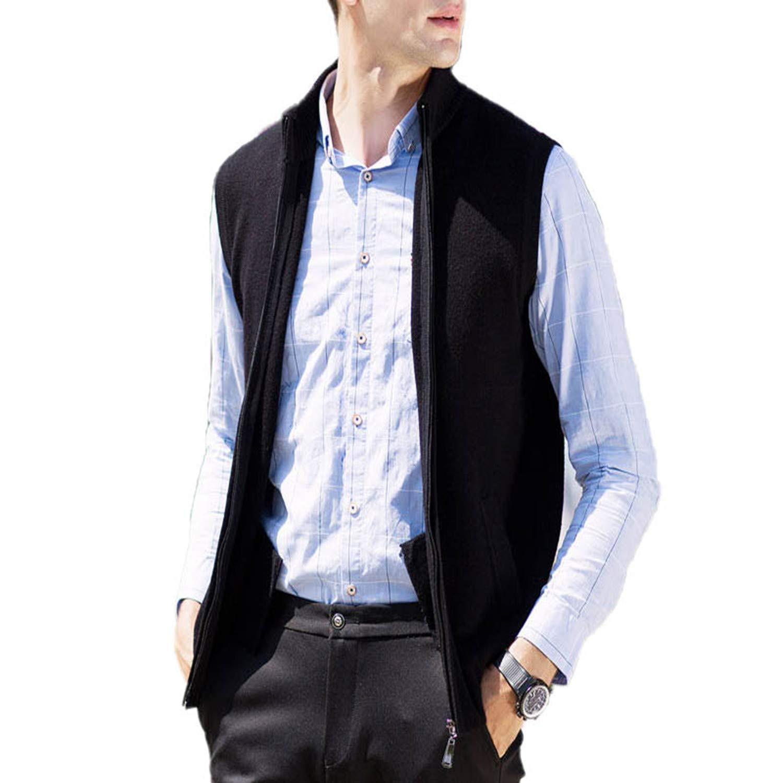 0ef6b339b42266 TOGIC Men Turtleneck Sleeveless Cardigan Men Thick Warm Cashmere at Amazon  Men s Clothing store
