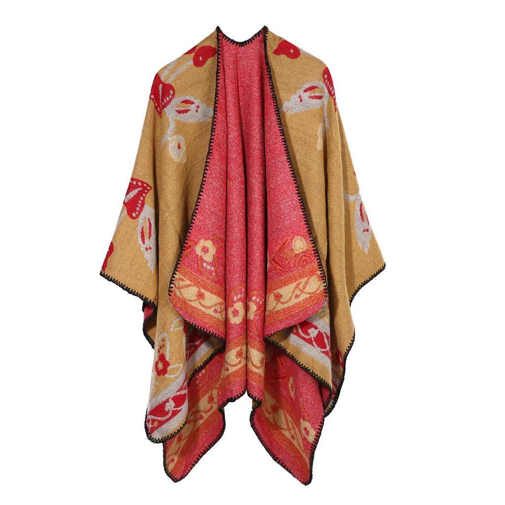IEasⓄn Women Shawl Winter Soft Cashmere Scarves Stylish Warm Blanket Shawl Elegant Wrap Coffee
