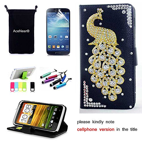 L90 CASE AceNear(TM) For LG Optimus L90 Single Sim D415 T-Mobile Ultrathin Wallet Folio Stand Support Leather Case Series - white peacock black leather