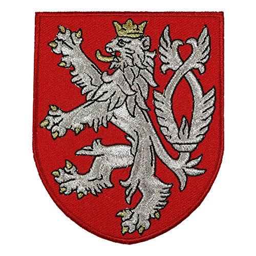 (VEGASBEE LION BOHEMIAN COAT OF ARMS CZECH REPUBLIC RED SHIELD METALLIC EMBROIDERED PATCH)