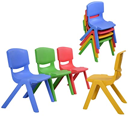 Costzon Kids Chairs, Stackable Plastic Learn And Play Chair For School Home  Play Room,