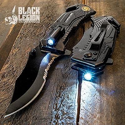 Black Legion Special Force Pocket Knife with LED Flashlight