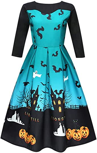 BODOAO Women Halloween Party Prom Swing Dress Printing
