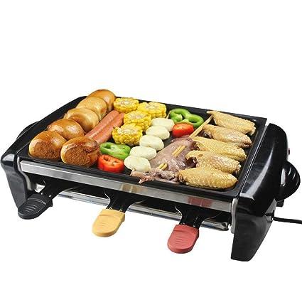 Barbacoa antiadherente Grill eléctrico doble capas eléctrico Teppanyaki grande con temperatura ajustable para 4-5