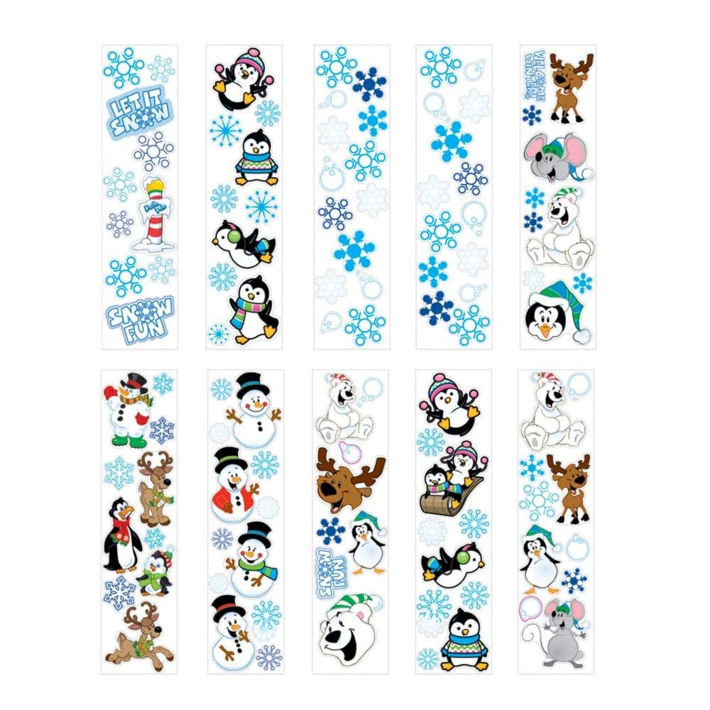 Fun Express 100 Winter Sticker Sheets ~ 8 to 14 Stickers Per Sheets ~ Sticker Size 1 2 1 3 8 X 1 2 1 3 4 ~ New ~ Christmas Stocking Stuffer