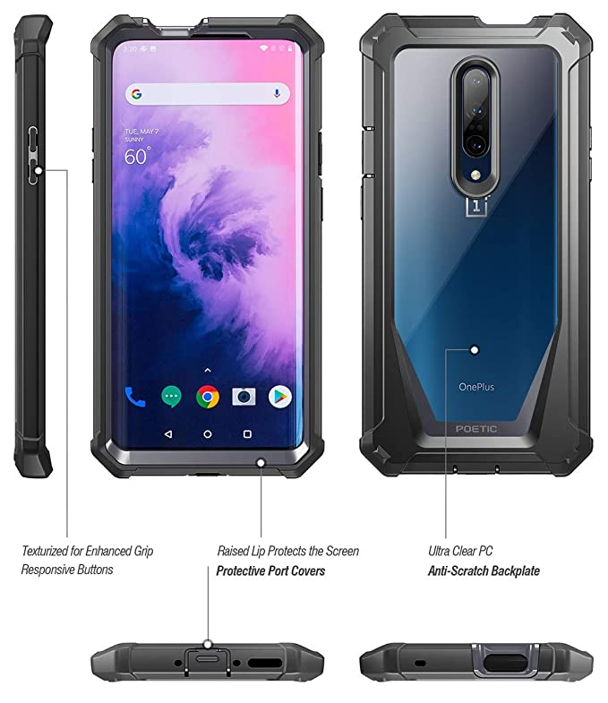Poetic OnePlus 7 Pro Rugged Clear Case, Full-Body Hybrid Shockproof Bumper Cover, Built-in-Screen Protector, Guardian Series, Case for OnePlus 7 Pro ...