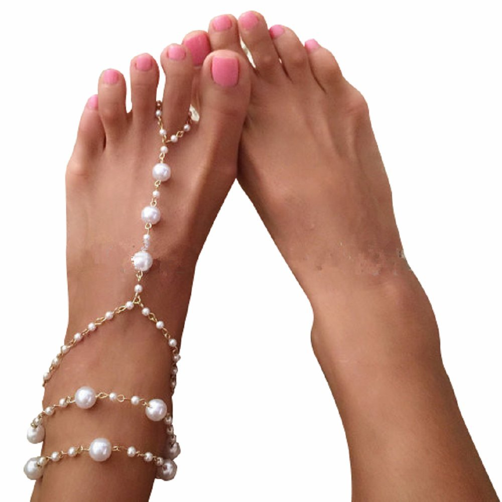 Kaamastra Women's Simulated Pearl Barefoot Sandal Anklets Jewelry Q2YLE237