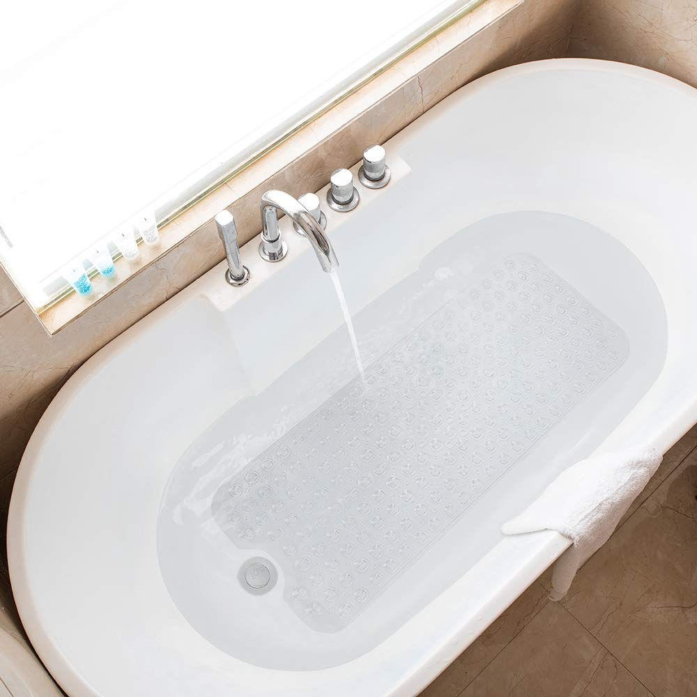 Tree Bud Bathtub Mats for Shower Tub Non-Slip Anti Bacterial Bath Mat 39 x 16 Inch Extra Long Shower Mat Bath Tub Mat for Bathroom with Machine Washable BPA Free for Kids White