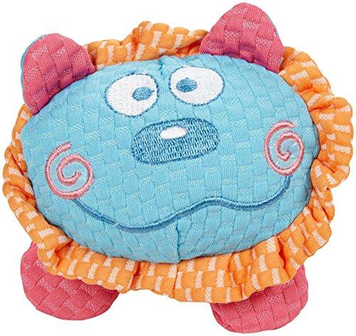 Patchwork Pet TuffPuff Lion Head Dog Toy - Blue & Orange - 6 in